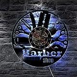 QUTICL LED Wanduhr Moderne Barber Shop Uhren 7 Farbwechsel Barbershop Vinyl CD Rekord Wanduhr Wohnkultur Stille 12 Zoll