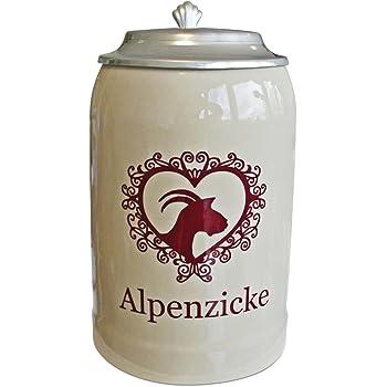 mit Zinndeckel 0,5l F/üllmenge Geschenkbox Bierkrug Rautenkugel Bayernwappen mit L/öwen Kobaltblau Steingut