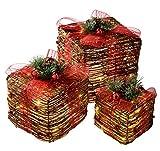 WeRChristmas 25/20/15 cm Pre-Lit de ratán LED de luz Blanca cálida en Caja de Regalo y Rojo Cinta de árbol de Navidad, Juego de 3, Multi-Color