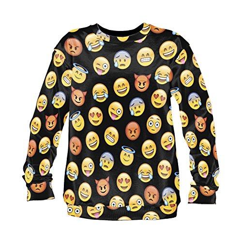 Emoji Sweater Emoticon Smileys Symbole Smartphone Fullprint All Over Sweatshirt Sweater Pattern Muster (Emoji Black)