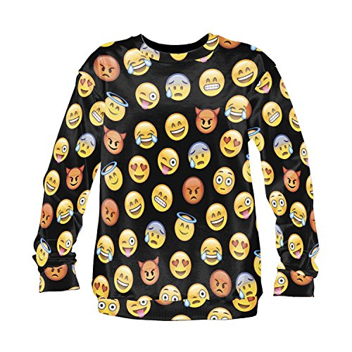 emoji sweatshirt Emoji Sweater Emoticon Smileys Symbole Smartphone Fullprint All Over Sweatshirt Sweater Pattern Muster (Emoji Black)