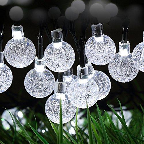 30er LED Solar Lichterkette Kristalkugeln Außen Innen Deko Kugelleuchte für Garten Party Hochzeit Weiß Gresonic