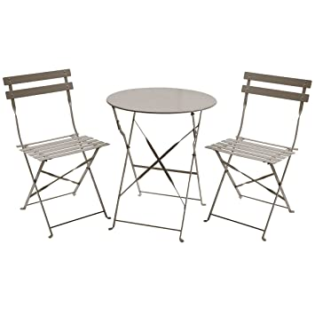 charles bentley 3 piece folding metal bistro set garden patio furniture round table 2 chairs taupe amazoncouk garden outdoors