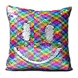 """DrCosy Mermaid Pillow Case 16""""x16"""" Magic reversible Sequins Pillow Covers (Colorful Diamond/Holygram Silver)"""