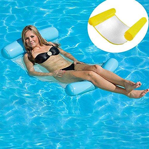 Orville Pool Aufblasbare Liege, Wasserhängematte Strandmatte Sommer Outdoor Erwachsene Bequeme Schwimmbad Liege Air Sofa - gelb -