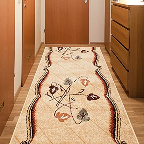 Beige Traditional Rug Hall Runner Hallway Leaves Pattern 60 x 400 cm (2ft x 13ft1
