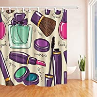 "Girly Decor cortinas de ducha por gohebe belleza amor herramientas barras de labios eyebrush Perfume artística impresión baño cortina de 71x 71"""