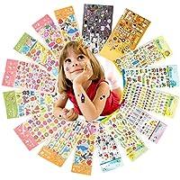 Yuccer Pegatinas 3D Cute Recompensas Pegatinas DIY Decoration Scrapbooking Stickers Niños Incluyendo Animales, Coches, Frutas y Alimentos, 16 Hojas