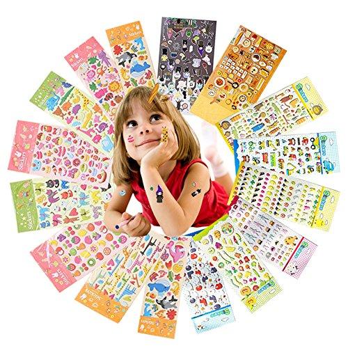 Aufkleber für Kinder, Yuccer 3D Puffy Sticker Niedlich Stickeralbum Tagebuch Aufkleber für das Kinderzimmer Einschließlich Tiere, Auto, Obst, 16 ()
