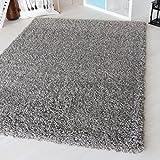 Shaggy Teppich Hochflor Langflor meliert in versch. Farben und Größen. Wohnzimmerteppiche 2-farbiger Doppelgarn (80 x 150 cm, Grau)