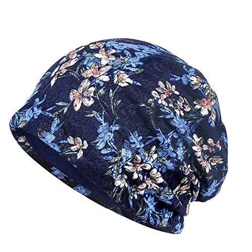 Moresave Fraeun Spitze Blumen Baumwolle Slouch Mütze Hut Chemo Cap Stretch Turban Kopfbedeckungen, Dunkelblau Slouch Hut