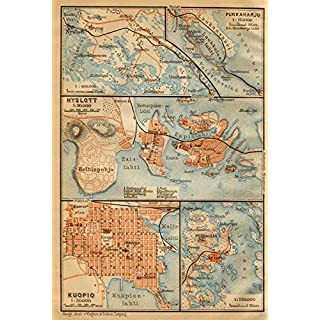 Punkaharju. Savonlinna (Nyslott). Kuopio town/city plan kartta. Finland - 1912 - old antique vintage map - printed maps of Finland