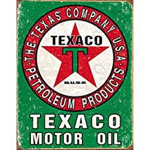 Texaco Oil Weathered Metal Sign Flach New 31x40cm VS3384