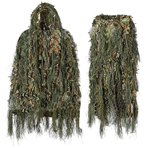 Gemischte Waldtarnung Uniform, Geely Kleidung Jedi Survival Umgeben Requisiten Blätter Dschungel Atmungsaktiv Leichtgewicht Mit Einkaufstasche Jagdanzug Outdoor-Fotografie Vogelbeobachtung Verborgen