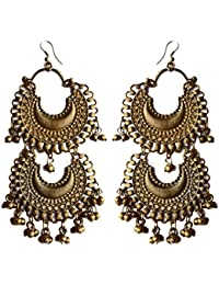 Chirkutt.in Gold Double Layered Afghani Chandbali Earrings For Women (CHK0005)