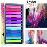 Capelli Gesso Capelli Temporanea Gesso, 12 Colore Hair Chalk Capelli Tintura Temporanea Colorato per Kid Girls party e cospla