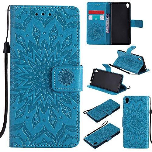 Für Sony Xperia XA Fall, Prägen Sonnenblume Magnetische Muster Premium Soft PU Leder Brieftasche Stand Case Cover mit Lanyard & Halter & Card Slots ( Color : Blue ) Blue