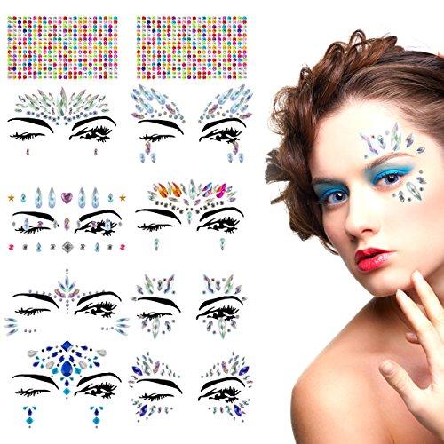 (ANPHSIN 10 Sets Gesicht Edelsteine, Selbstklebend Glitzer Gesicht, Temporäre Tattoos Gesichts Aufkleber, Glitzersteine Gesicht, Gesicht Schmucksteine, für Festival Shows, Parties, Make-up)
