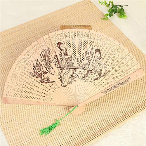 Performance Kunst Kostüm - XIAOHAIZI Handfächer,Sommer Der Frauen Wood Fan Carving Doppelseitige Hohlen Dame Klavier Spielen Im Chinesischen Stil Klassischer Damen Kunst Lüfter Geeignet Für Hochzeit Geschenk Tanz Ventilator