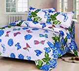 IWS Luxury Printed 120 TC Cotton Double Bedsheet with 2 Pillow Covers - Blue