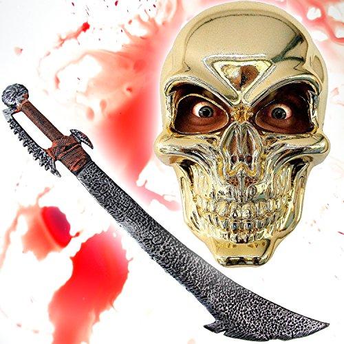 Rüstung Kostüm Ork - HALLOWEEN Set Spezial - SKULL Maske gold + Ork Schwert