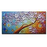 Asdam Art-(100% handgemalten 3d)bunte blumen Öl Gemälde auf leinwand abstrakte kunst gemälde mauer - kunst für eßzimmer wohn - und schlafzimmer Home Dekoration(24x48 inch)