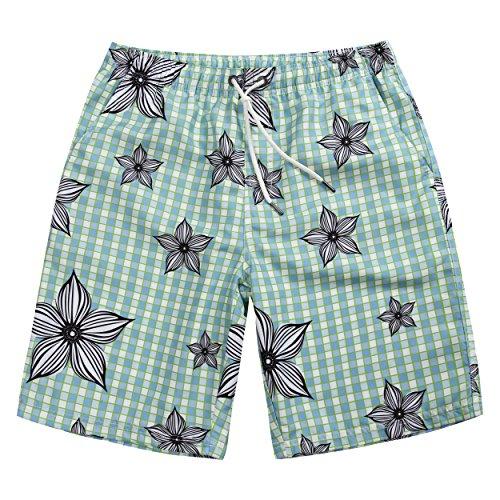 MaaMgic uomo pantaloncini da bagno Shorts Beach costume da bagno asciugano rapidamente fenicotteri N17MB120-verde