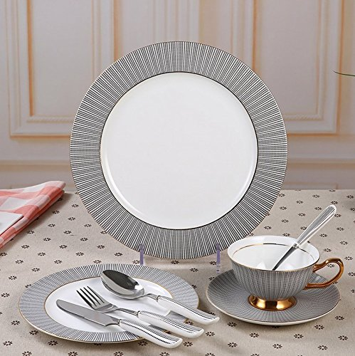 Touch Life 8-Pcs Ceramic Dinnerware Set Dinner Set with Dinner Plates, Salad Plates,Dinner Knife,Dinner Fork,Tea Cup,Saucer,Coffee Spoon,Dinner Spoon,8 pcs