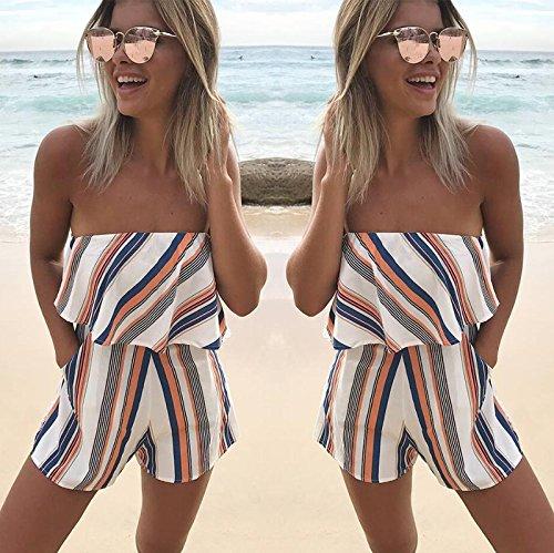 ECOWISH Jumpsuit Damen Sommer Strand Blumenmuster Trägerlos Overall Spielanzug Orange