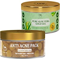TNW-The Natural Wash Combo of Pure Aloe Vera Gold Gel & Anti Acne Face Pack | Beauty Gel For Acne ,Scars,Sunburn…