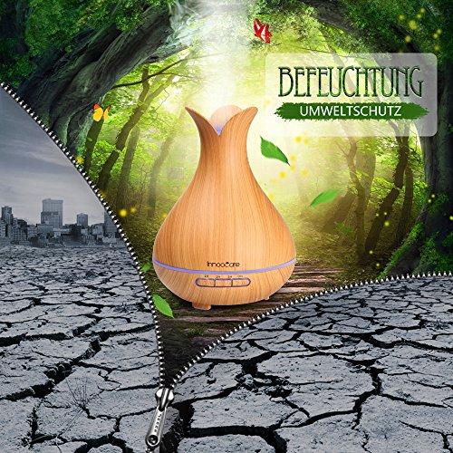 Aroma Diffuser 300ml InnooCare ätherisches Öl Zerstäuber Ultraschall Aromatherapie Holzmaserung Luftbefeuchter für frische Luft, Heim Dekoration, beste Geschenke für trockene