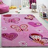 Tapis pour Chambre d'enfant Tapis pour Enfants Motifs Papillon Contours Découpés Rose, Dimension:120x170 cm...