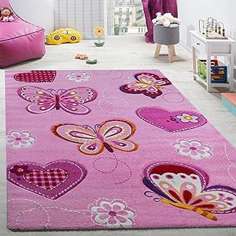 Kinderzimmer Teppich Kinderteppich Schmetterling Motive Mit Konturenschnitt Pink, Grösse:140x200