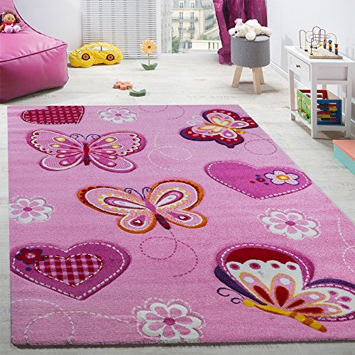 Paco Home Tappeto per Cameretta Tappeto per Bambini Motivo con Farfalla con Taglio Sagomato Rosa, Dimensione:120x170 cm