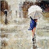Sky Art Feng Handgefertigt Ölgemälde Abstrakt Landschaft Gemälde auf Leinwand für Room Decor Blau Rock Frau Halt Regenschirm an Street Malerei, Canvas, 24x24inch