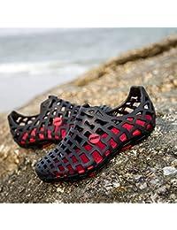 Xing Lin Sandales Pour Hommes Nouveau Summer Lovers Antidérapante Chaussures Sandales Perméable À L'Été, Hommes Et Femmes Nest Baotou Chaussures De Plage Chaussures Trou 35 Marée Noire Rouge