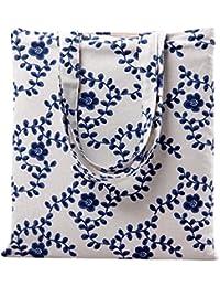 Flowertree Women'S Cartoon Floral Fruit Print Canvas Tote Bag (L257-Vine Floral/Zip)