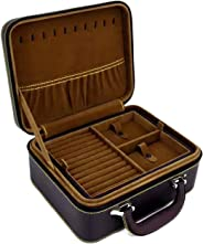 Jewellery Box, 2-Layer Jewellery Storage, Removable Tray, for Earring, Rings, Bracelets, Brown