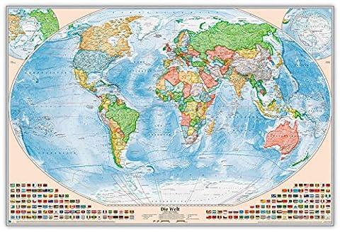 Politische Weltkarte als Pinnwand im silbernen Alurahmen, Größe 120 x 80 cm, Aktuell: Stand 2015,