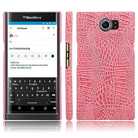 Coque Pour BlackBerry Priv PU Étui Housse en Cuir Portefeuille Motif Crocodile Bookstyle (Rose)