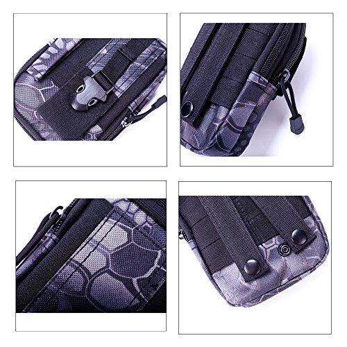 Shopper Joy Tattico Borsa EDC Borsa Molle Hip con Carabiner in alluminio 1000D Materiale per escursioni all'aperto Trekking Camping Travel - Jungle Digital pitone
