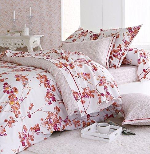 Drap plat Blossom satin de coton motifs fleurs 180x290 ~ Tradilinge
