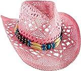 R&B Strohhut Rosa mit Hutband Cowboyhut Leichter Hut