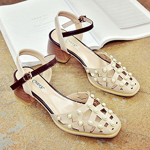 RUGAI-UE Donne sandali estivi cava spesso retrò fibbia scarpe scarpe Beige