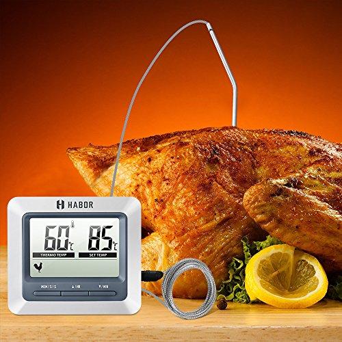 Habor Barbacoa Termómetro horno termómetro Termómetro Barbecue Grill Termómetro Digital Con Gran Pantalla LCD  larga 304 Acero Inoxidable Sonda para jardín  horneado  horno  cocinar  carne  etc.