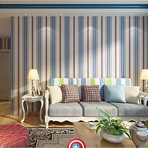 Qihang papel pintado habitación de los niños Capitán América gran Pentagrama estilo Boy dormitorio 0.53m * 10m = 5.3sqm, Light Blue&white&Blue&Red,
