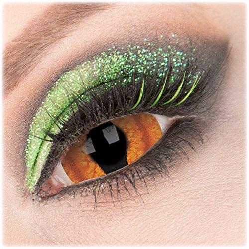 Farbige orange 'Shadowcat' Sclera Kontaktlinse 1 Paar Crazy Fun 22 mm Kontaktlinse mit Behälter zu Fasching Karneval Halloween - Topqualität von 'Giftauge' ohne Stärke (Ice Dämon Kostüm)