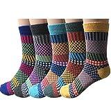 YSense 5 Paar Wollsocken – Baumwollsocken – Stricksocken | Vintage Stil | Warme Crew Socken für Herbst & Winter