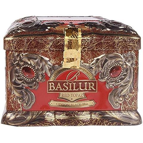Basilur Gourmet Gift Tea Tin Box 100% Pure Ceylon Black Leaf Tea Cherry and Kiwi Red Topaz 100 G