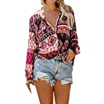 Sufeng Women Tops Floral Print V Neck Long Sleeve Shirts Casual Loose Blouses Tops